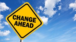 Sign that says Change Ahead